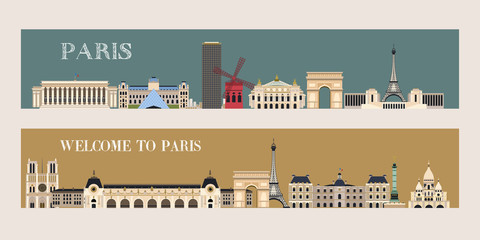 Sights Of Paris. Vector illustration. Welcome to Paris!