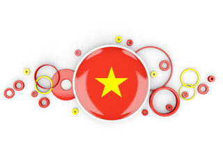 Round flag of vietnam with circles pattern