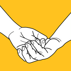 Hand in hand on yellow background.