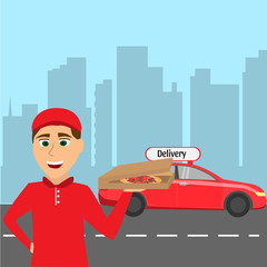 Pizza courier in red uniform beside car