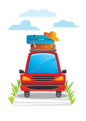 Vector illustration of a red car with luggage on top moving on the road.