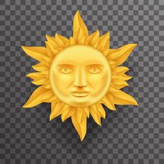Antique Golden Sun Face Crown of Flames Realistic 3d Transperent Icon Template Background Mock Up Design Vector Illustration