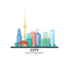 Flat Vector City Illustration.