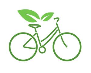 logo bicicletta verde ecologica vettoriale