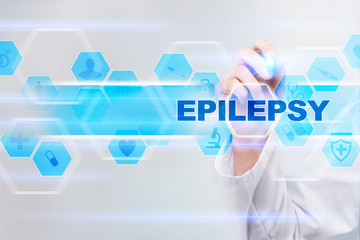 Medical doctor drawing epilepsy on the virtual screen.