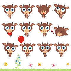 Big set cute little cow. Collection isolated cartoon cow in different poses.
