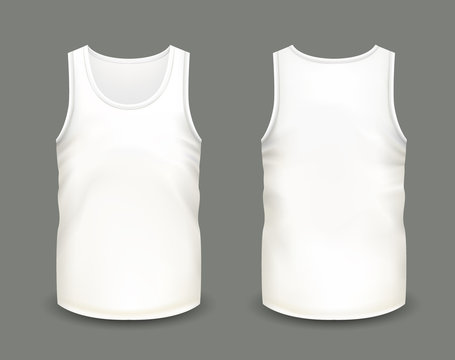Men's white sleeveless tank in front and back views. Vector illustration with realistic male shirt template. Fully editable handmade mesh. 3d singlet used as mock up for prints or logo design.