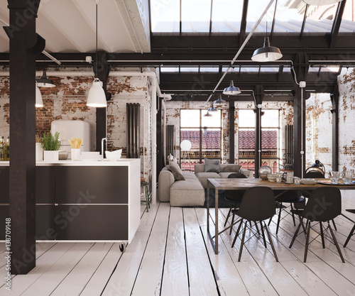 industrial loft apartment industrie loft wohnung stockfotos und lizenzfreie bilder auf. Black Bedroom Furniture Sets. Home Design Ideas