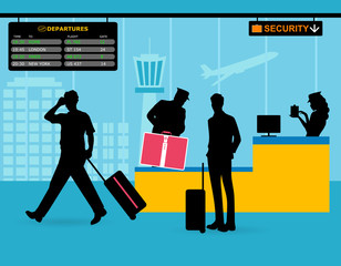 Check baggage before boarding. The security services check passengers at the airport
