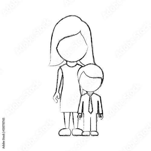 Figure woman with her son vector illustraction design fichier ve - Figure libre architecture ...
