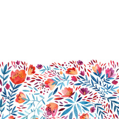 Watercolor ornate flowers background