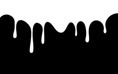 white paint drips. ink flow down. black background. vector illustration