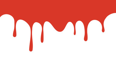 red paint drips. bloody ink flow down. white background. vector illustration