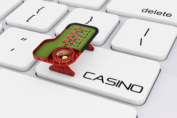 Classic Casino Roulette Table over Computer Keyboard with Casino Sign. 3d Rendering
