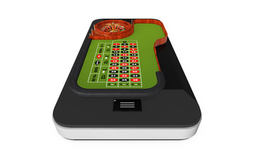 Online Casino Concept. Classic Casino Roulette Table over Mobile Phone. 3d Rendering