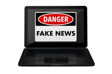 Fake News Danger Sign over Laptop Screen. 3d Rendering