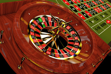 Classic Casino Roulette Table. 3d Rendering