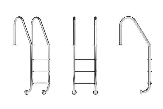 Chrome Swimming Pool Ladders. 3d Rendering