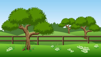 Summer landscape background with green trees, hills and chamomiles