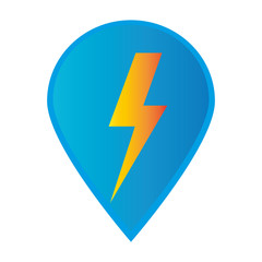 Mark icon pointer gps with lightning icon vector illustration
