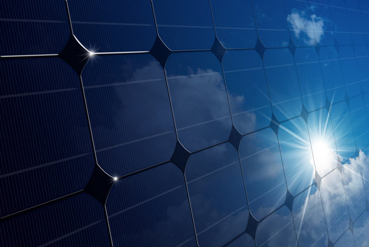 Close-up of a Solar Panel with Sun Rays