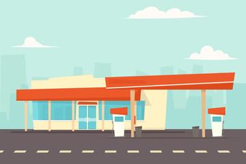 petrol station vector. cartoon simple flat vector image