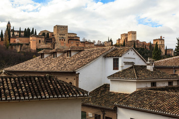 The alhambra of Granada from the neighborhood of Albaicín. Spain