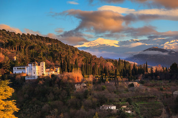 Sierra Nevada and the Palace of the Generalife in Granada