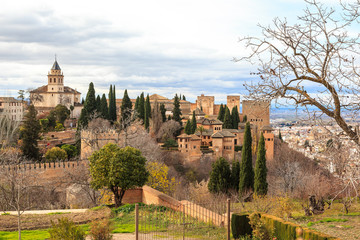 The Alhambra in Granada seen from the Generalife. Spain