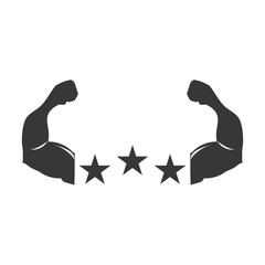 silhouette Muscular arms with stars shape vector illustration