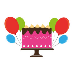 colorful cake and balloons party birthday vector illustration