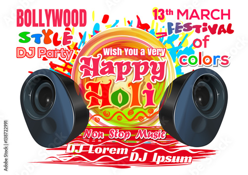Happy Holi  DJ party in the Bollywood style  Holi festival
