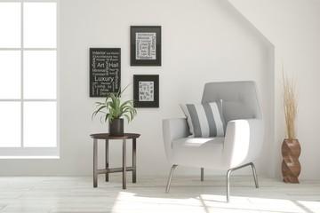 White room with armchair. Scandinavian interior design