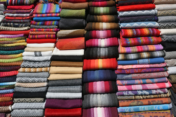 Different Colorful Fabric at market in Peru