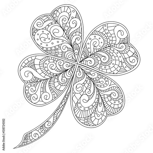 four leaf clover decorated with hand drawn patterns doodle art outline drawing