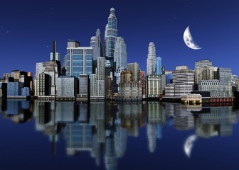 Night city with reflection and moon in the sky, 3d rendering