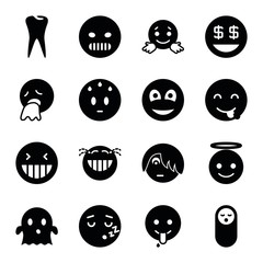 Set of 16 smile filled icons