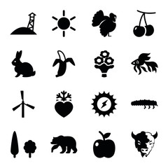 Set of 16 nature filled icons