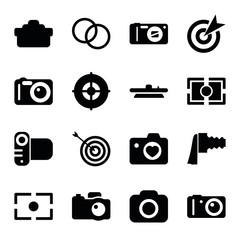Set of 16 objective filled icons