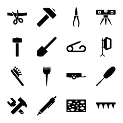 Set of 16 tool filled icons