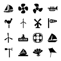 Set of 16 wind filled icons
