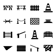 Set of 16 barrier filled icons