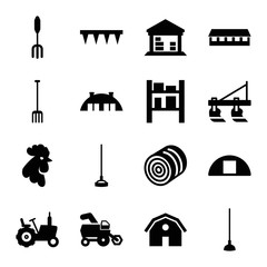 Set of 16 farming filled icons