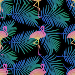 seamless pink flamingo with green palm leaf pattern on black background