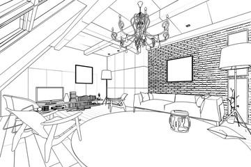 Wohnzimmer in der Mansarde (Skizze)