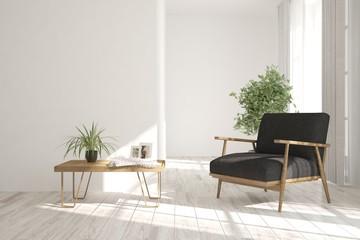 White room with modern armchair. Scandinavian interior design