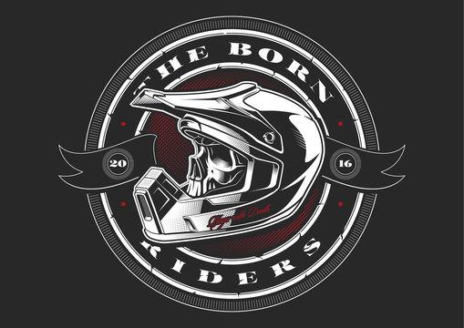 Biker skull in helmet