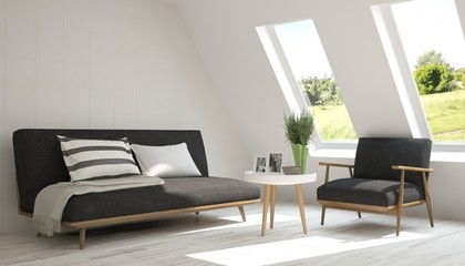 White room with black sofa and green landscape in window. Scandinavian interior design