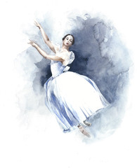Ballerina dancing ballet white tutu watercolor painting illustration isolated on white background