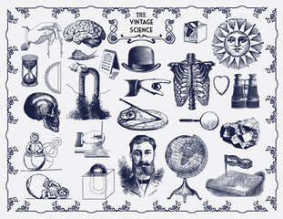 Collection of Vintage Drawn Science Vector Elements. Perfect for Web Design, Shirts, Scrapbooking, Logos, Badges, School Poster and Flyer. Ressource for Illustration Work.